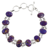 Sterling Silver Link Bracelet Purple Turquoise B5556-C77