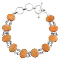 Sterling Silver Link Bracelet Orange Spiny Oyster Shell B5556-C79
