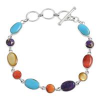 Sterling Silver Link Bracelet Multi Gemstone B5557-C71