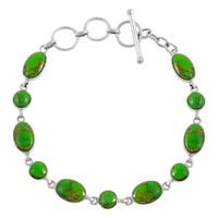 Sterling Silver Link Bracelet Green Turquoise B5557-C76