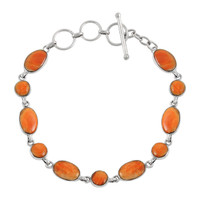 Sterling Silver Link Bracelet Orange Spiny Oyster Shell B5557-C79