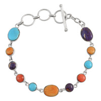 Sterling Silver Link Bracelet Multi Gemstone B5558-C71