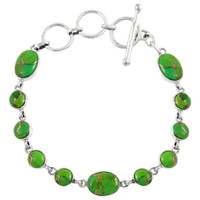Sterling Silver Link Bracelet Green Turquoise B5558-C76