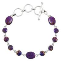 Sterling Silver Link Bracelet Purple Turquoise B5558-C77