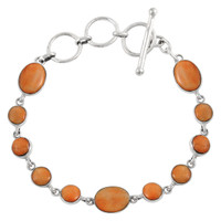 Sterling Silver Link Bracelet Orange Spiny Oyster Shell B5558-C79