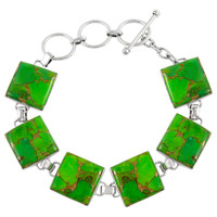 Sterling Silver Link Bracelet Green Turquoise B5559-C76