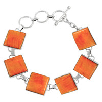 Sterling Silver Link Bracelet Orange Spiny Oyster Shell B5559-C79