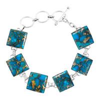 Sterling Silver Link Bracelet Matrix Turquoise B5559-C84