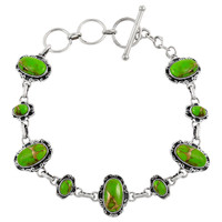 Sterling Silver Link Bracelet Green Turquoise B5560-C76