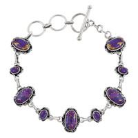 Sterling Silver Link Bracelet Purple Turquoise B5560-C77