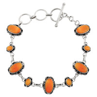 Sterling Silver Link Bracelet Orange Spiny Oyster Shell B5560-C79