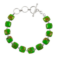 Sterling Silver Link Bracelet Green Turquoise B5561-C76