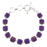 Sterling Silver Link Bracelet Purple Turquoise B5561-C77