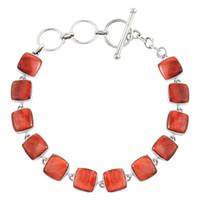 Sterling Silver Link Bracelet Spiny Oyster Shell B5561-C78