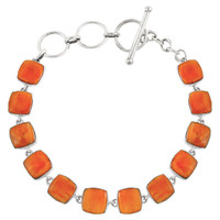 Sterling Silver Link Bracelet Orange Spiny Oyster Shell B5561-C79