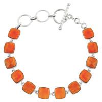 Sterling Silver Link Bracelet Orange Spiny Oyster Shell B5561-C79