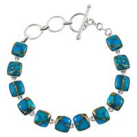 Sterling Silver Link Bracelet Matrix Turquoise B5561-C84