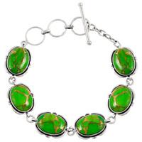 Sterling Silver Link Bracelet Green Turquoise B5562-C76