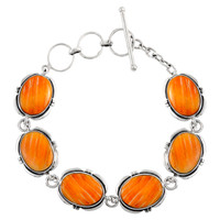 Sterling Silver Link Bracelet Orange Spiny Oyster Shell B5562-C79