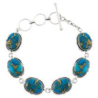 Sterling Silver Link Bracelet Matrix Turquoise B5562-C84