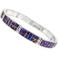 Sterling Silver Link Bracelet Purple Turquoise B5518-C07
