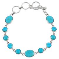 Sterling Silver Link Bracelet Turquoise B5558-C75