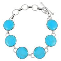 Sterling Silver Link Bracelet Turquoise B5490-C75