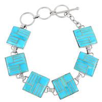 Sterling Silver Link Bracelet Turquoise B5559-C05