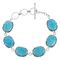 Sterling Silver Link Bracelet Turquoise B5562-C05