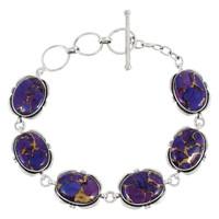 Sterling Silver Link Bracelet Purple Turquoise B5562-C77