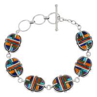 Sterling Silver Link Bracelet Multi-Gemstones B5562-C51