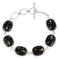 Sterling Silver Link Bracelet Black & Opal B5562-C27
