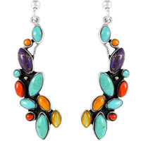 Sterling Silver Earrings Multi Gemstones E1251-C71