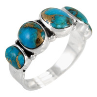 Sterling Silver Ring Matrix Turquoise R2421-C84