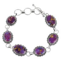 Sterling Silver Link Bracelet Purple Turquoise B5555-C77