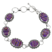 Sterling Silver Link Bracelet Purple Turquoise B5555-C07