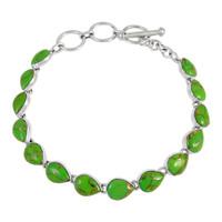 Sterling Silver Link Bracelet Green Turquoise B5565-C76