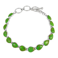 Sterling Silver Link Bracelet Green Turquoise B5565-C76