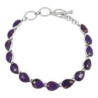 Sterling Silver Link Bracelet Purple Turquoise B5565-C77