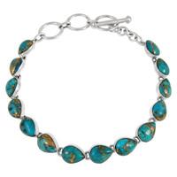 Sterling Silver Link Bracelet Matrix Turquoise B5565-C84