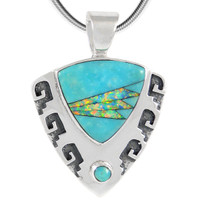 Sterling Silver Pendant Turquoise & Opal P3263-C21