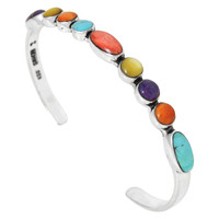 Sterling Silver Bracelet Multi Gemstone B5566-C71