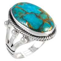 Sterling Silver Ring Matrix Turquoise R2381-C84