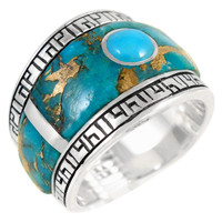 Sterling Silver Statement Ring Matrix Turquoise R2391-C84
