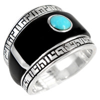 Sterling Silver Statement Ring Black & Turquoise R2391-C81