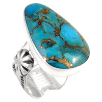 Sterling Silver Ring Matrix Turquoise R2423-C84