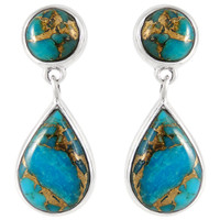 Sterling Silver Earrings Matrix Turquoise E1205-C84