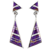 Sterling Silver Earrings Purple Turquoise E1050-C07