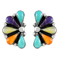 Sterling Silver Earrings Multi Gemstones E1259-C71