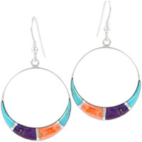 Sterling Silver Earrings Multi Gemstone E1260-C01